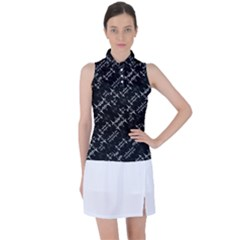Black And White Ethnic Geometric Pattern Women s Sleeveless Polo Tee by dflcprintsclothing
