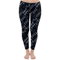 Black And White Ethnic Geometric Pattern Classic Winter Leggings by dflcprintsclothing