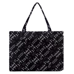 Black And White Ethnic Geometric Pattern Zipper Medium Tote Bag by dflcprintsclothing