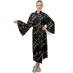 Black And White Ethnic Geometric Pattern Maxi Velour Kimono by dflcprintsclothing