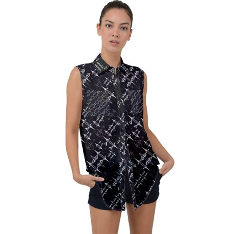 Black And White Ethnic Geometric Pattern Sleeveless Chiffon Button Shirt by dflcprintsclothing