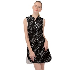 Black And White Ethnic Geometric Pattern Sleeveless Shirt Dress