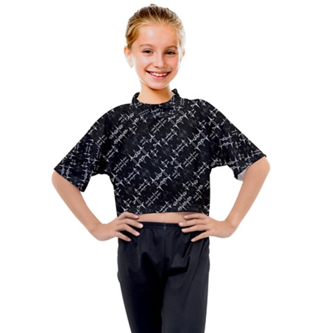 Black And White Ethnic Geometric Pattern Kids Mock Neck Tee by dflcprintsclothing