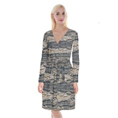 Surface Texture Print Long Sleeve Velvet Front Wrap Dress by dflcprintsclothing