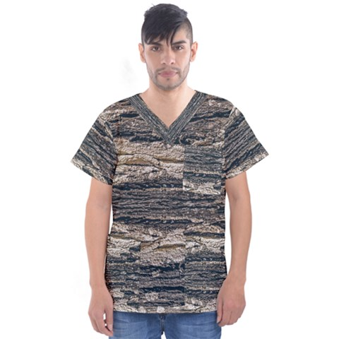Surface Texture Print Men s V-neck Scrub Top by dflcprintsclothing