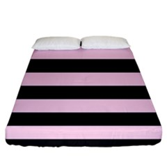 Black And Light Pastel Pink Large Stripes Goth Mime French Style Fitted Sheet (california King Size) by genx