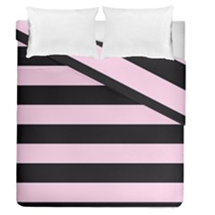 Black And Light Pastel Pink Large Stripes Goth Mime French Style Duvet Cover Double Side (queen Size) by genx
