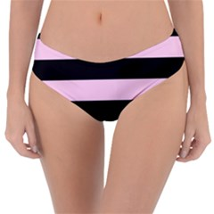Black And Light Pastel Pink Large Stripes Goth Mime French Style Reversible Classic Bikini Bottoms by genx