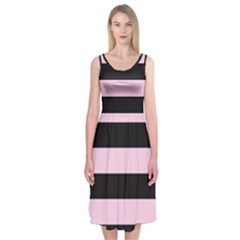 Black And Light Pastel Pink Large Stripes Goth Mime French Style Midi Sleeveless Dress by genx