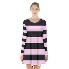 Black And Light Pastel Pink Large Stripes Goth Mime French Style Long Sleeve Velvet V-neck Dress by genx