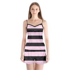 Black And Light Pastel Pink Large Stripes Goth Mime French Style Satin Pajamas Set by genx