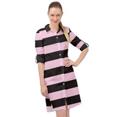 Black And Light Pastel Pink Large Stripes Goth Mime French Style Long Sleeve Mini Shirt Dress by genx