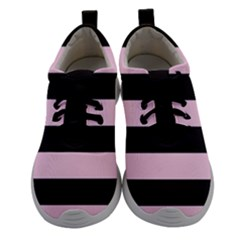 Black And Light Pastel Pink Large Stripes Goth Mime French Style Women Athletic Shoes by genx