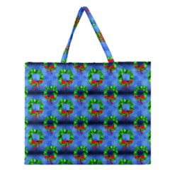 Christmas Wreath Zipper Large Tote Bag by bloomingvinedesign