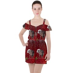 I m Ready For Christmas, Funny Wolf Ruffle Cut Out Chiffon Playsuit