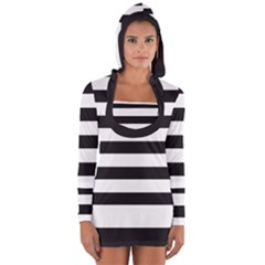Black And White Large Stripes Goth Mime French Style Long Sleeve Hooded T-shirt by genx
