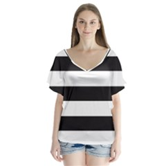 Black And White Large Stripes Goth Mime French Style V-neck Flutter Sleeve Top by genx