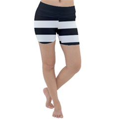 Black And White Large Stripes Goth Mime French Style Lightweight Velour Yoga Shorts