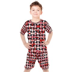 Background Red Summary Kids  Tee And Shorts Set