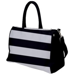 Black And White Large Stripes Goth Mime French Style Duffel Travel Bag by genx