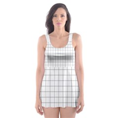 Aesthetic Black And White Grid Paper Imitation Skater Dress Swimsuit by genx