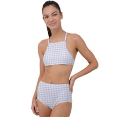 Aesthetic Black And White Grid Paper Imitation High Waist Tankini Set by genx
