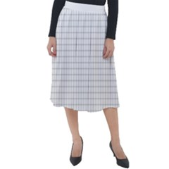 Aesthetic Black And White Grid Paper Imitation Classic Velour Midi Skirt  by genx