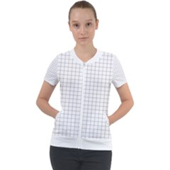 Aesthetic Black And White Grid Paper Imitation Short Sleeve Zip Up Jacket by genx