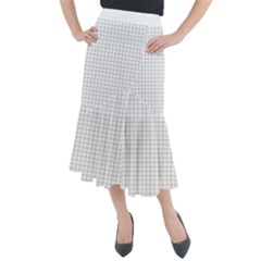 Aesthetic Black And White Grid Paper Imitation Midi Mermaid Skirt