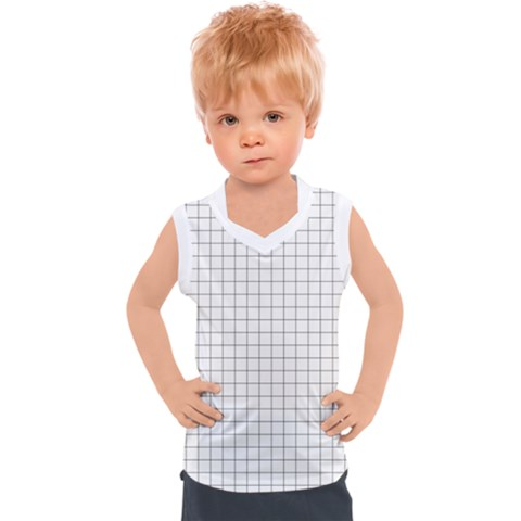 Aesthetic Black And White Grid Paper Imitation Kids  Sport Tank Top by genx