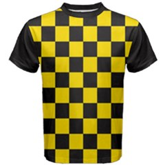 Checkerboard Pattern Black And Yellow Ancap Libertarian Men s Cotton Tee by snek