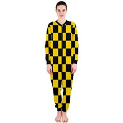 Checkerboard Pattern Black And Yellow Ancap Libertarian Onepiece Jumpsuit (ladies)  by snek