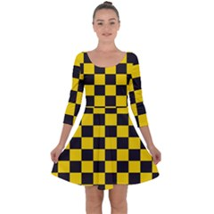 Checkerboard Pattern Black And Yellow Ancap Libertarian Quarter Sleeve Skater Dress by snek