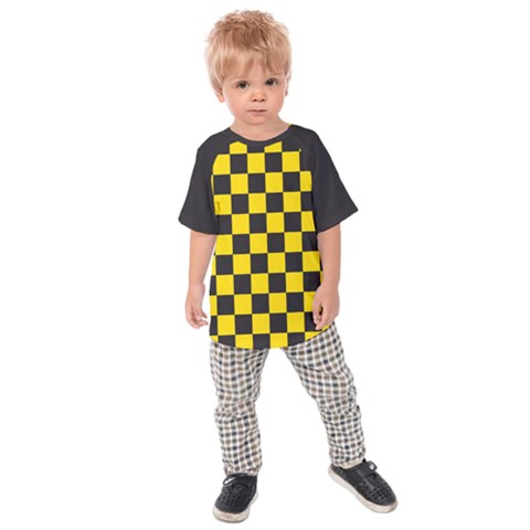 Checkerboard Pattern Black And Yellow Ancap Libertarian Kids  Raglan Tee by snek
