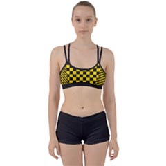 Checkerboard Pattern Black And Yellow Ancap Libertarian Perfect Fit Gym Set by snek