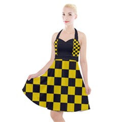 Checkerboard Pattern Black And Yellow Ancap Libertarian Halter Party Swing Dress  by snek