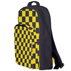 Checkerboard Pattern Black And Yellow Ancap Libertarian Double Compartment Backpack by snek