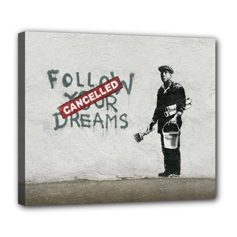 Banksy Graffiti Original Quote Follow Your Dreams Cancelled Cynical With Painter Deluxe Canvas 24  X 20  (stretched) by snek