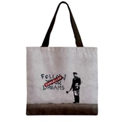 Banksy Graffiti Original Quote Follow Your Dreams Cancelled Cynical With Painter Grocery Tote Bag by snek