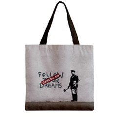 Banksy Graffiti Original Quote Follow Your Dreams Cancelled Cynical With Painter Zipper Grocery Tote Bag by snek