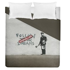 Banksy Graffiti Original Quote Follow Your Dreams Cancelled Cynical With Painter Duvet Cover Double Side (queen Size) by snek