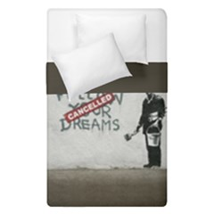 Banksy Graffiti Original Quote Follow Your Dreams Cancelled Cynical With Painter Duvet Cover Double Side (single Size) by snek