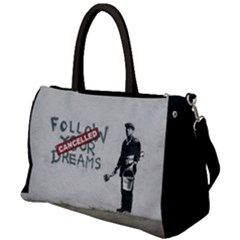Banksy Graffiti Original Quote Follow Your Dreams Cancelled Cynical With Painter Duffel Travel Bag by snek