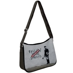 Banksy Graffiti Original Quote Follow Your Dreams Cancelled Cynical With Painter Zip Up Shoulder Bag by snek