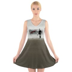 Banksy Graffiti Original Quote Follow Your Dreams Cancelled Cynical With Painter V-neck Sleeveless Dress by snek