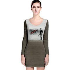 Banksy Graffiti Original Quote Follow Your Dreams Cancelled Cynical With Painter Long Sleeve Velvet Bodycon Dress by snek