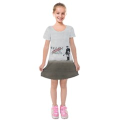 Banksy Graffiti Original Quote Follow Your Dreams Cancelled Cynical With Painter Kids  Short Sleeve Velvet Dress