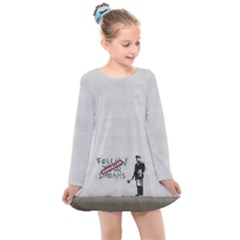 Banksy Graffiti Original Quote Follow Your Dreams Cancelled Cynical With Painter Kids  Long Sleeve Dress by snek