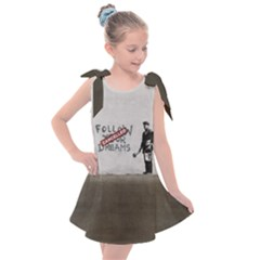 Banksy Graffiti Original Quote Follow Your Dreams Cancelled Cynical With Painter Kids  Tie Up Tunic Dress by snek
