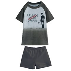 Banksy Graffiti Original Quote Follow Your Dreams Cancelled Cynical With Painter Kids  Swim Tee And Shorts Set by snek